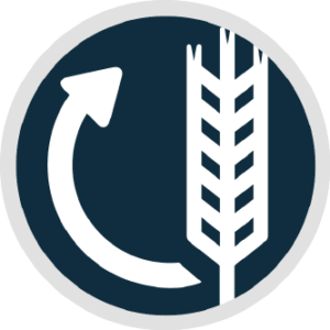 Circular logo with wheat on the right and an arrow starting from the bottom of the wheat circling back to the top.