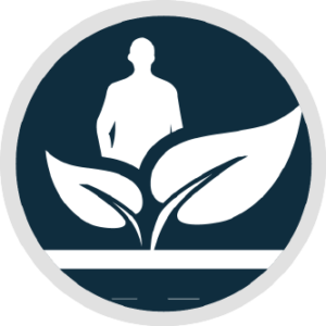 Circular logo with two leaves and the silhouette of a man standing behind them.