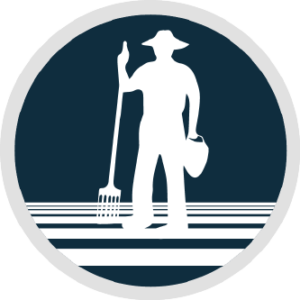 Circular logo with the silhouette of a farmer standing with a pitchfork and basket.