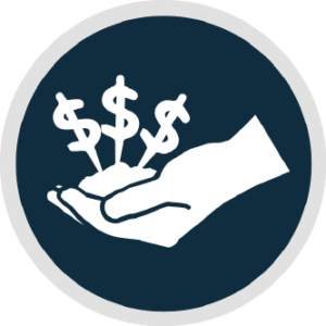 Circular logo showing a hand with money piled in the palm and dollar signs floating above.
